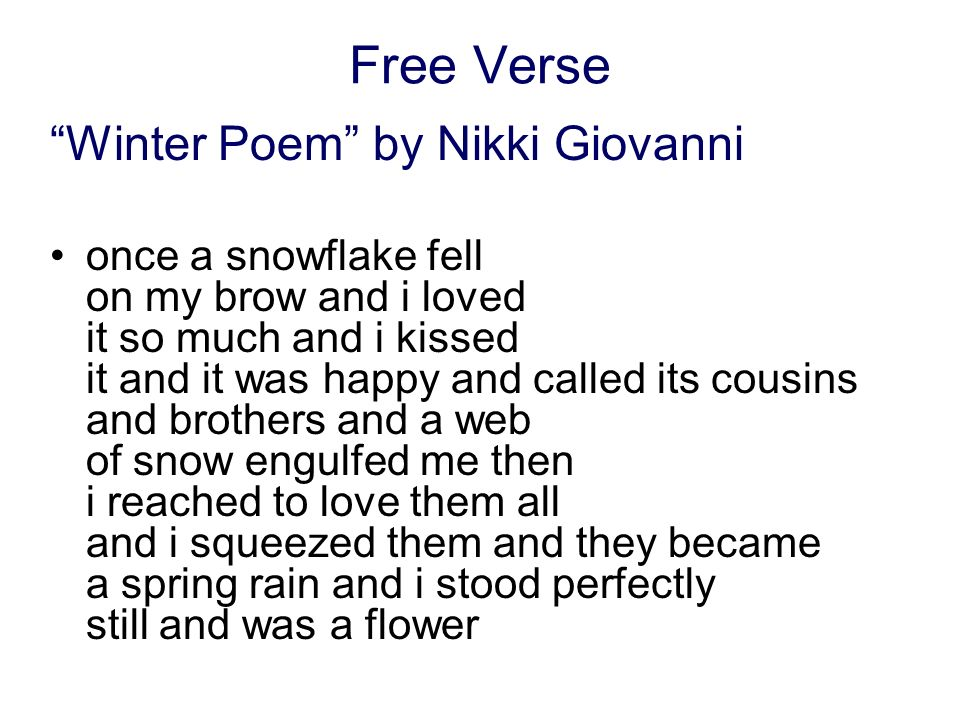 Free Verse Winter Poem by Nikki Giovanni