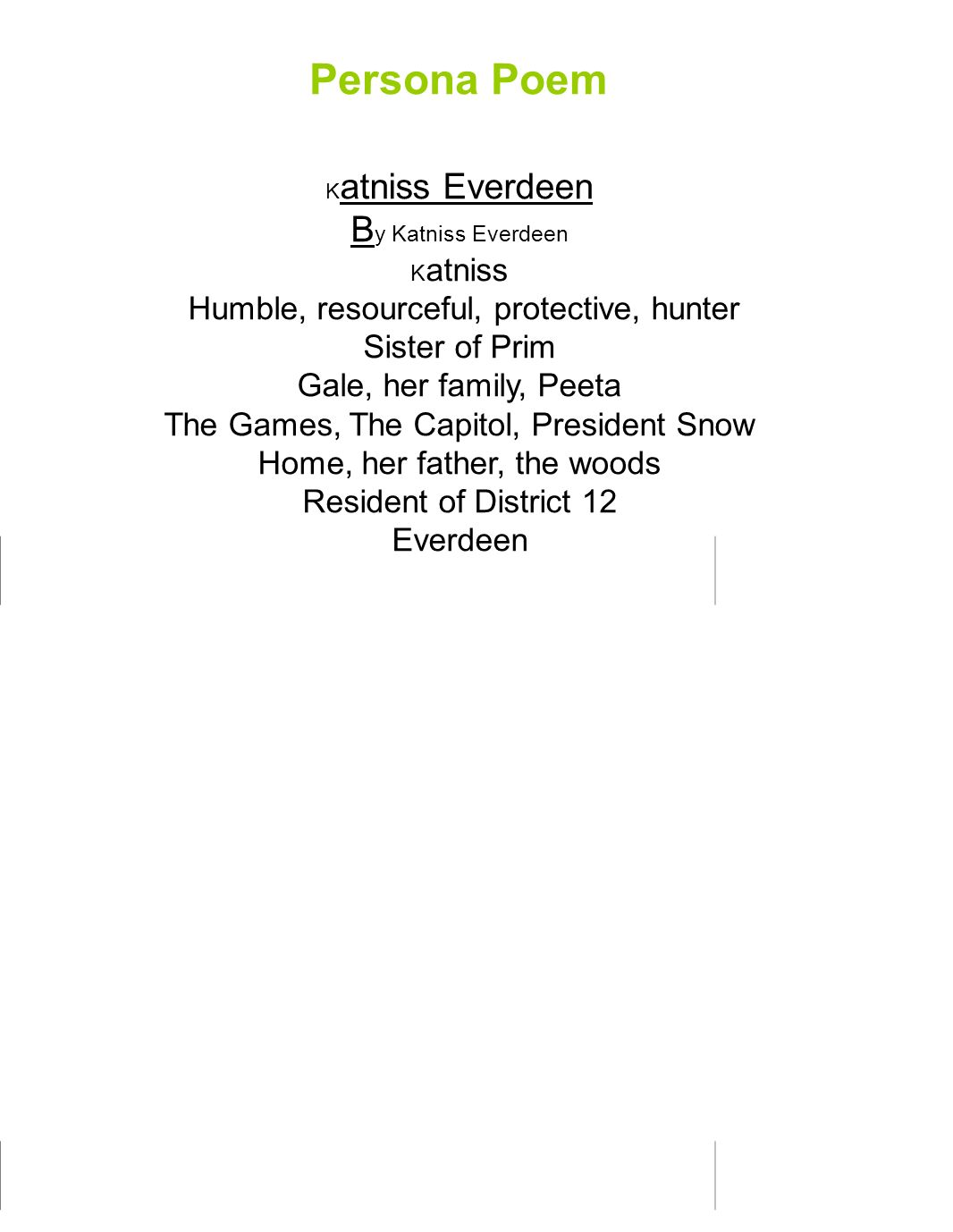 Persona Poem By Katniss Everdeen