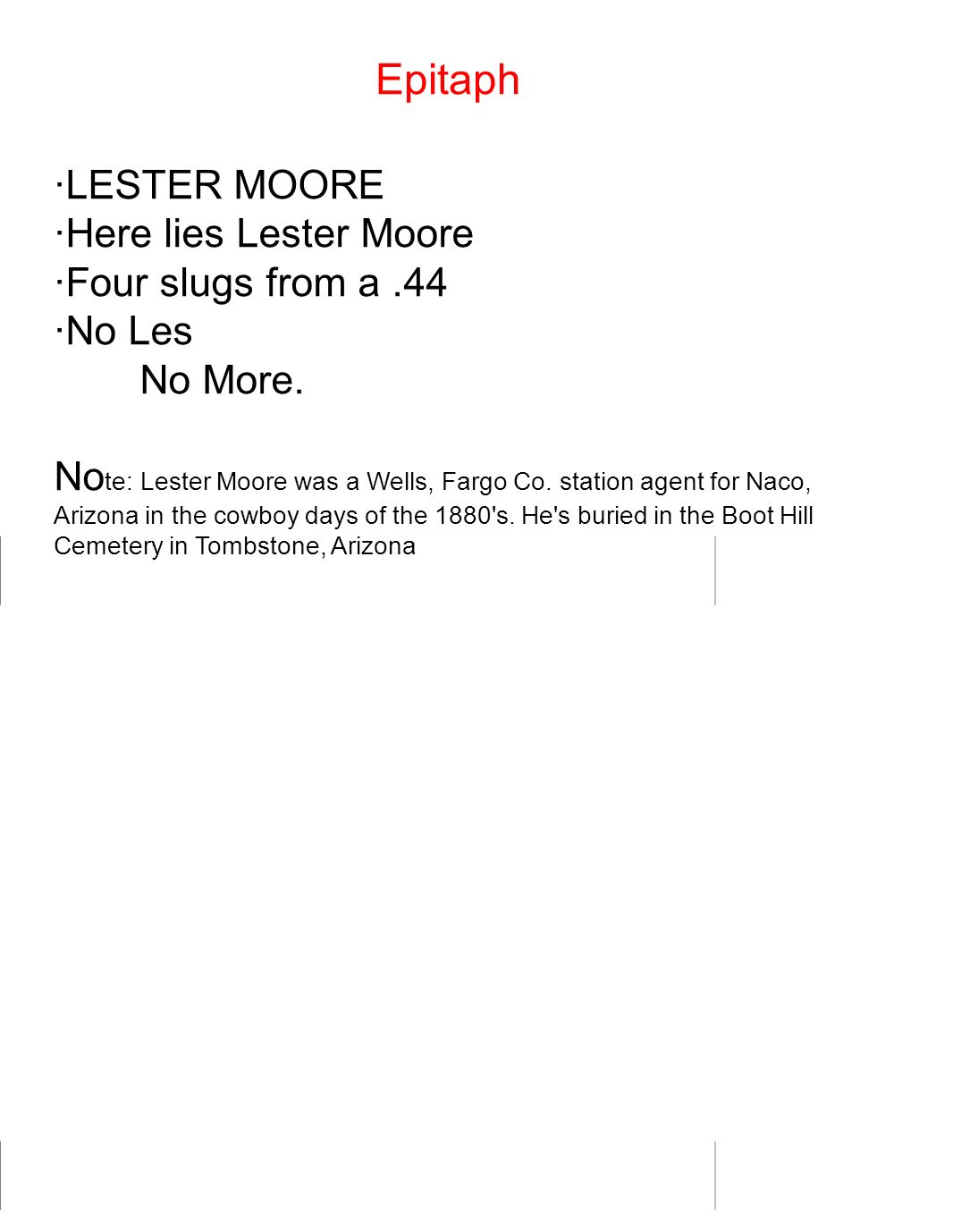 Epitaph ·LESTER MOORE ·Here lies Lester Moore ·Four slugs from a .44