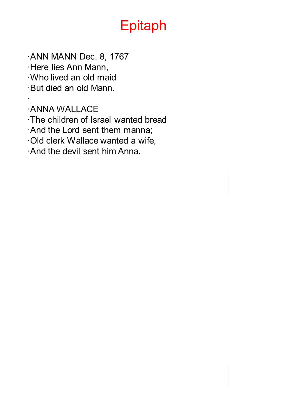 Epitaph ·ANN MANN Dec. 8, 1767 ·Here lies Ann Mann,