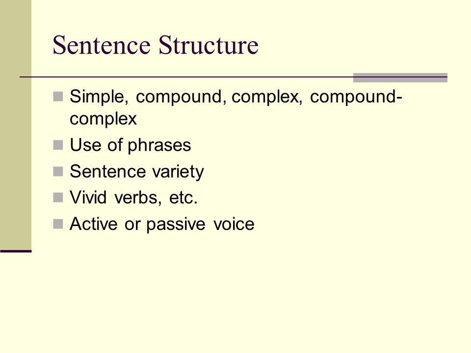 Sentence Structure Simple, compound, complex, compound-complex