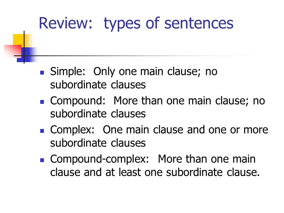 Review: types of sentences