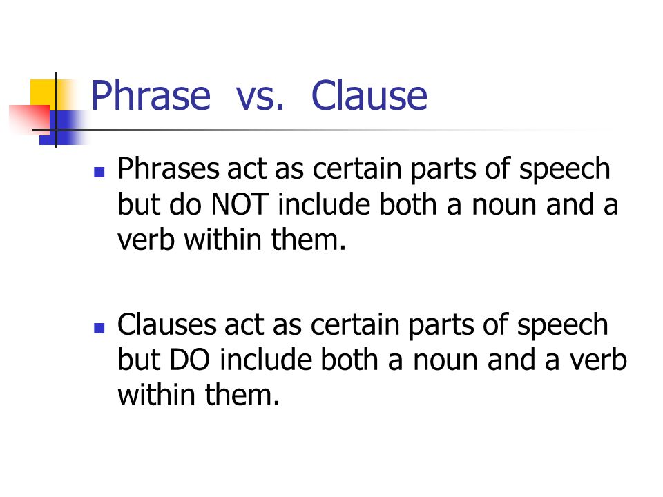 Phrase vs. Clause Phrases act as certain parts of speech but do NOT include both a noun and a verb within them.