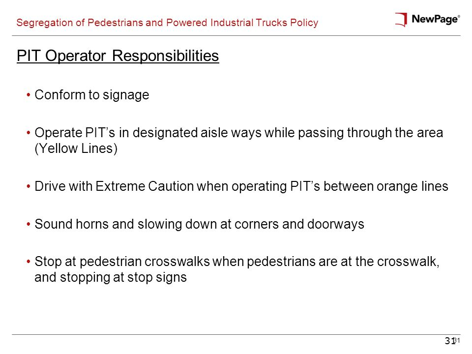 Segregation of Pedestrians and Powered Industrial Trucks Policy