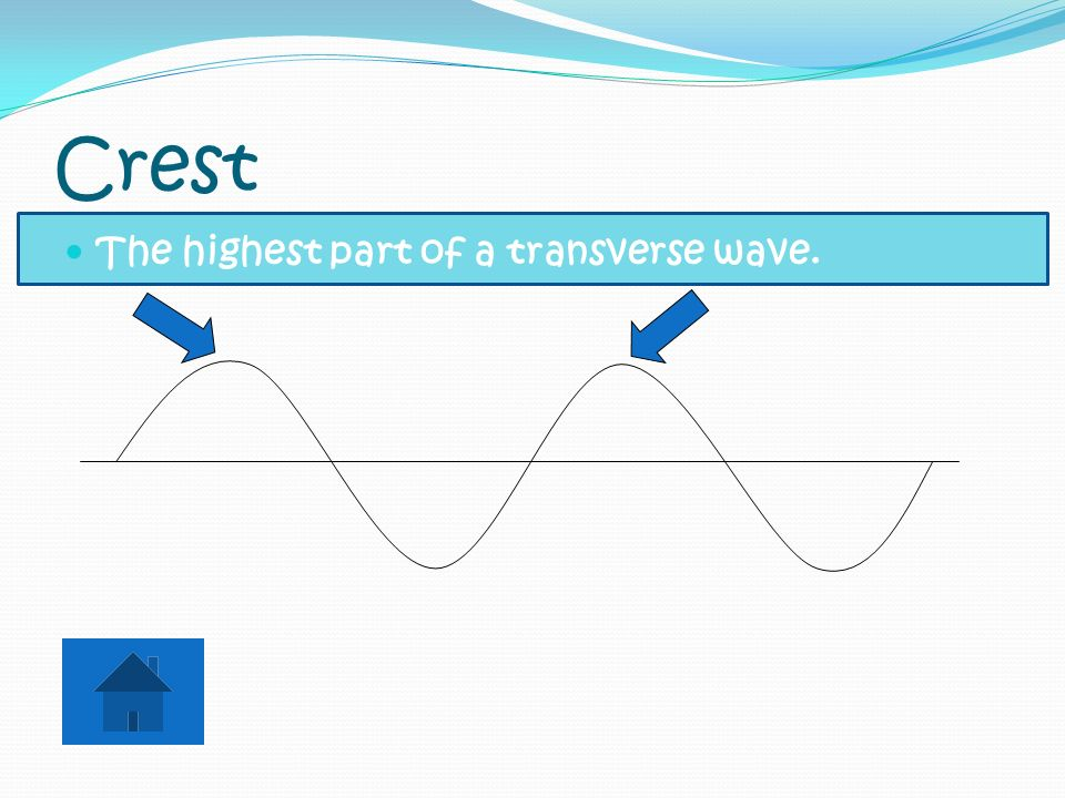 Crest The highest part of a transverse wave.