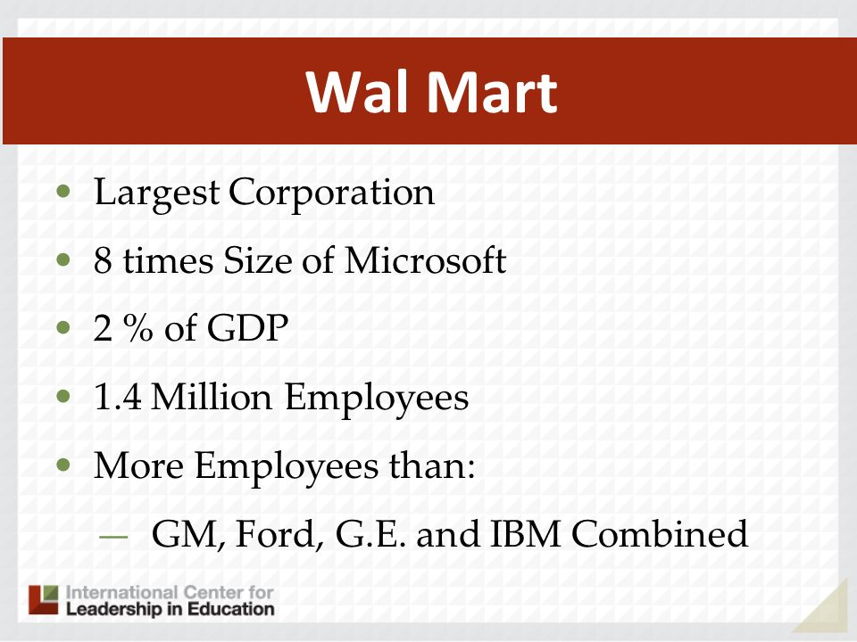 Wal Mart Largest Corporation 8 times Size of Microsoft 2 % of GDP