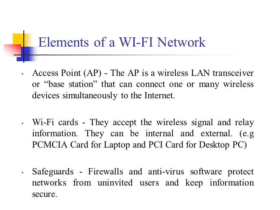 Elements of a WI-FI Network