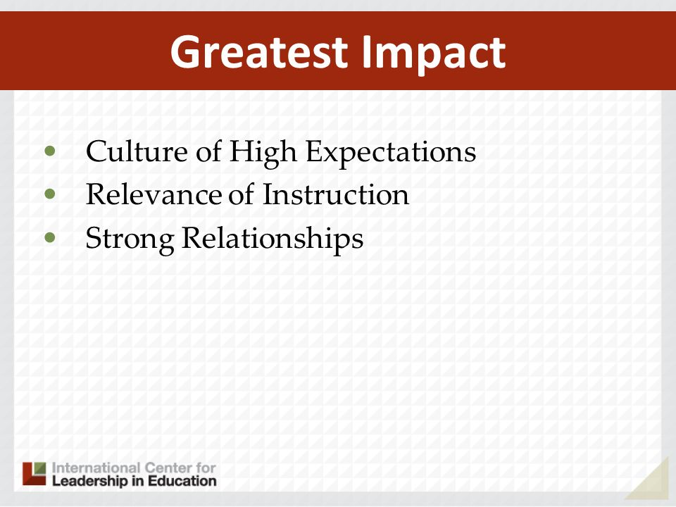 Greatest Impact Culture of High Expectations Relevance of Instruction