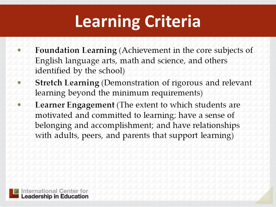 Learning Criteria