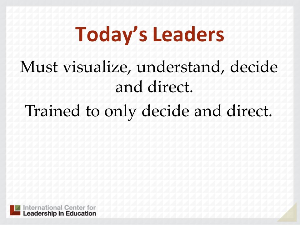 Today's Leaders Must visualize, understand, decide and direct.
