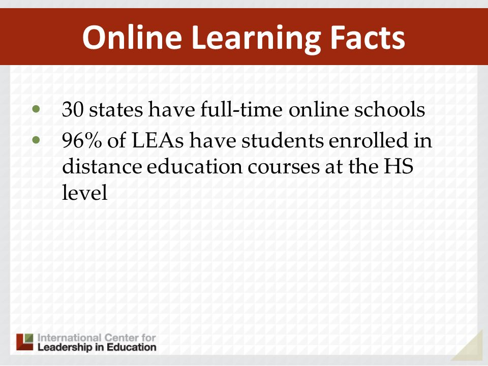 Online Learning Facts 30 states have full-time online schools