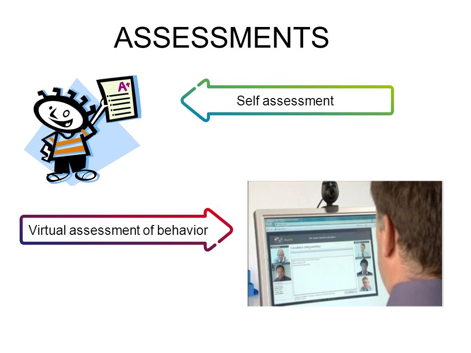 ASSESSMENTS Self assessment Virtual assessment of behavior