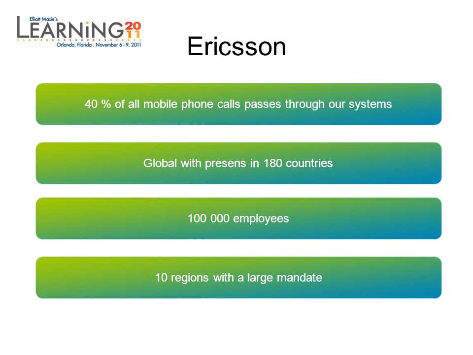 Ericsson 40 % of all mobile phone calls passes through our systems