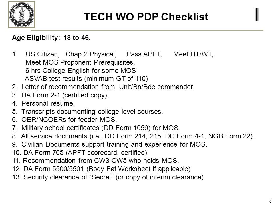 TECH WO PDP Checklist Age Eligibility: 18 to 46.