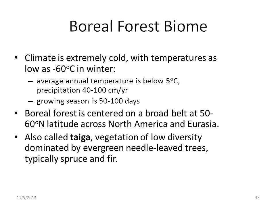 Boreal Forest Biome Climate is extremely cold, with temperatures as low as -60oC in winter:
