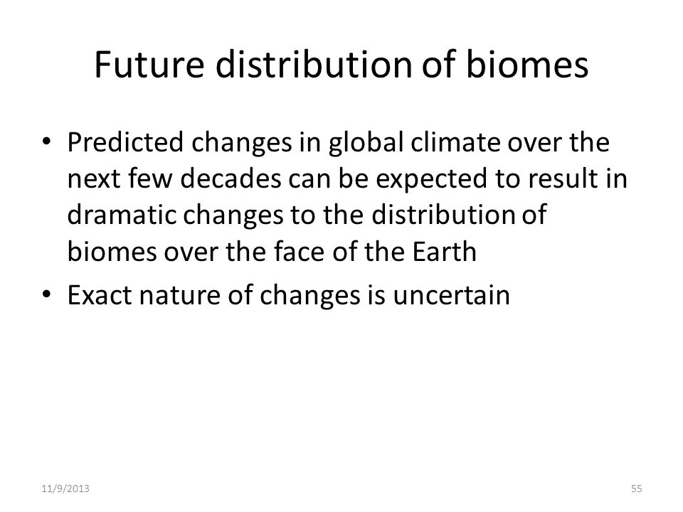 Future distribution of biomes