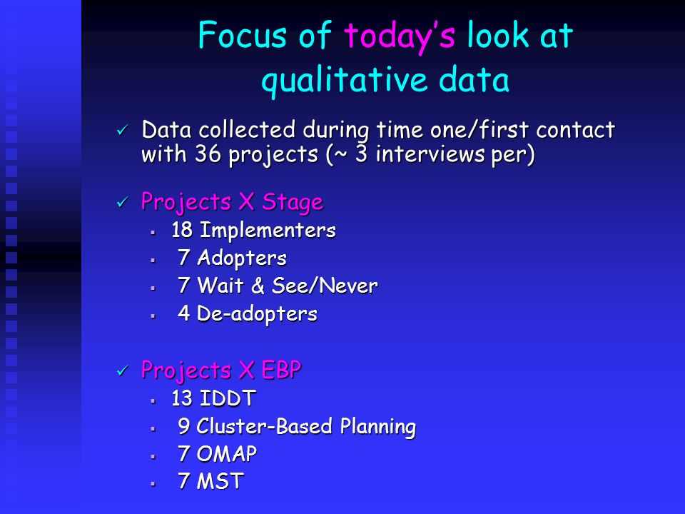Focus of today's look at qualitative data