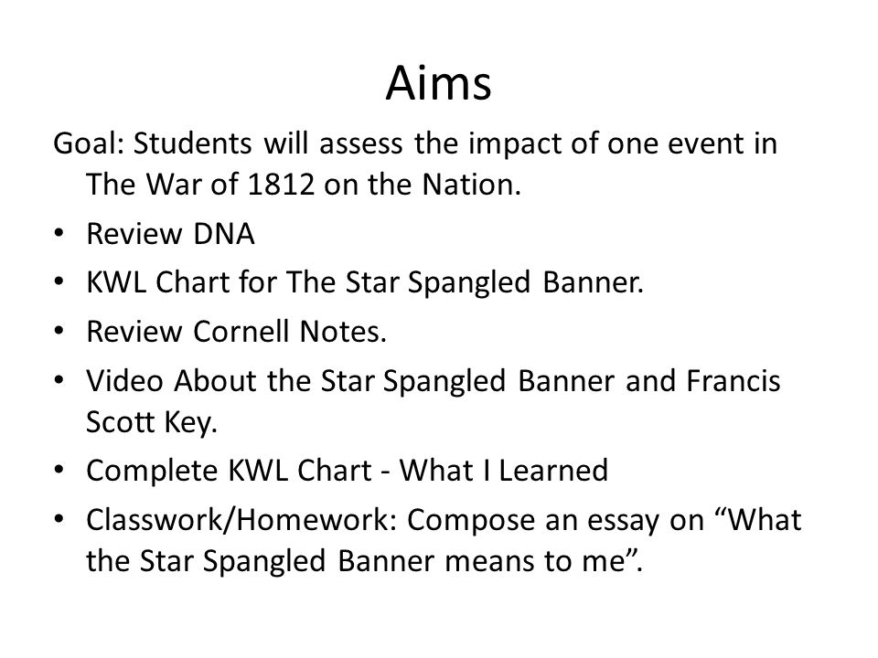 Aims Goal: Students will assess the impact of one event in The War of 1812 on the Nation. Review DNA.