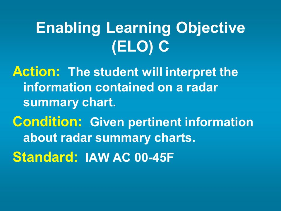 Enabling Learning Objective (ELO) C