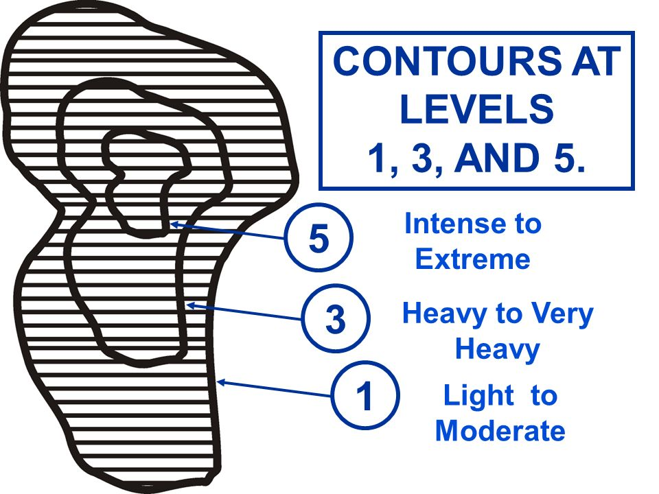 CONTOURS AT LEVELS 1, 3, AND 5. 5 3 1 Intense to Extreme