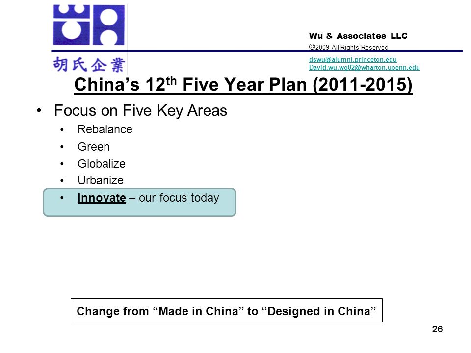 China's 12th Five Year Plan ( )