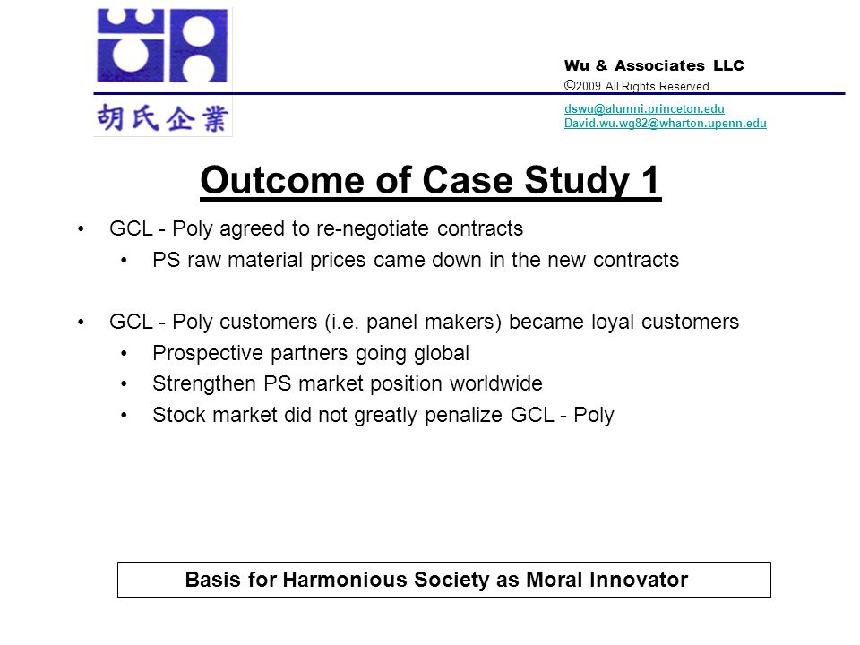 Outcome of Case Study 1 GCL - Poly agreed to re-negotiate contracts