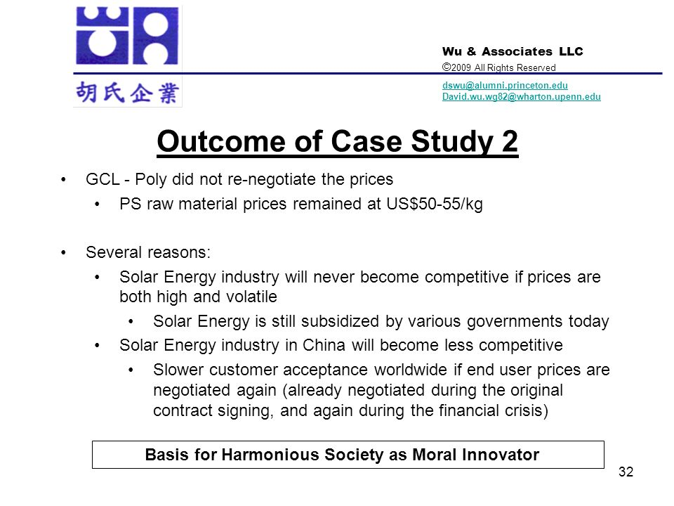 Outcome of Case Study 2 GCL - Poly did not re-negotiate the prices