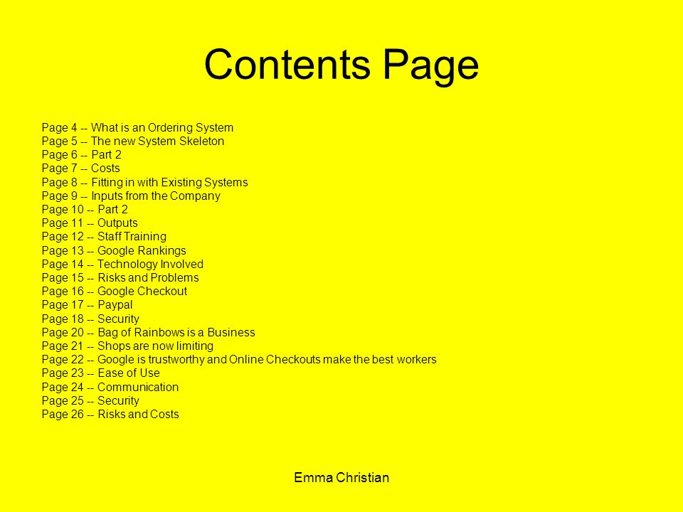 Contents Page Emma Christian Page 4 -- What is an Ordering System