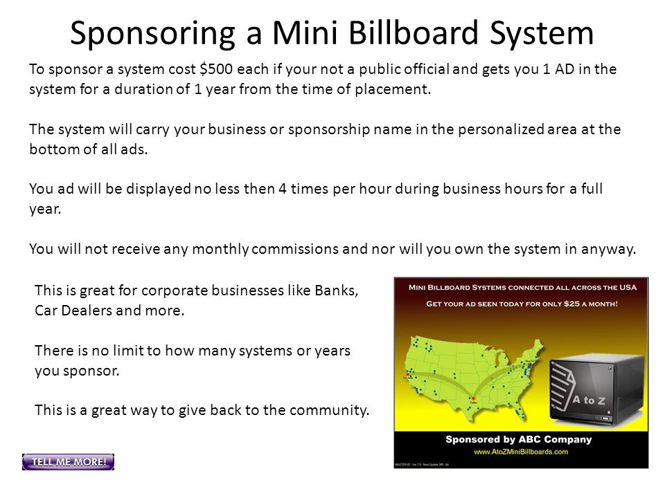 Sponsoring a Mini Billboard System