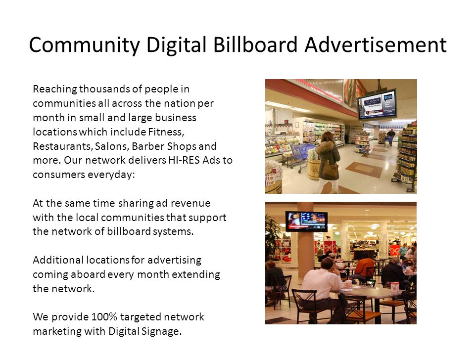 Community Digital Billboard Advertisement