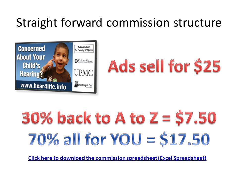 Straight forward commission structure