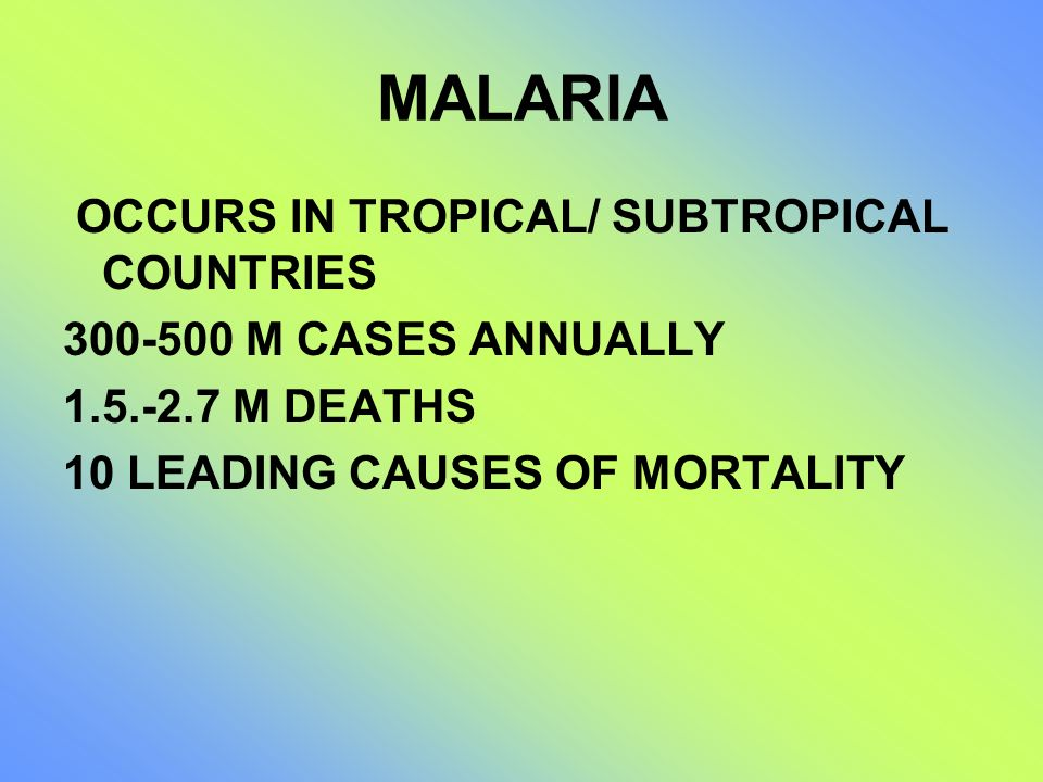 MALARIA OCCURS IN TROPICAL/ SUBTROPICAL COUNTRIES
