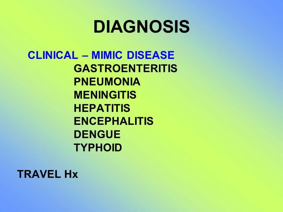 DIAGNOSIS CLINICAL – MIMIC DISEASE GASTROENTERITIS PNEUMONIA