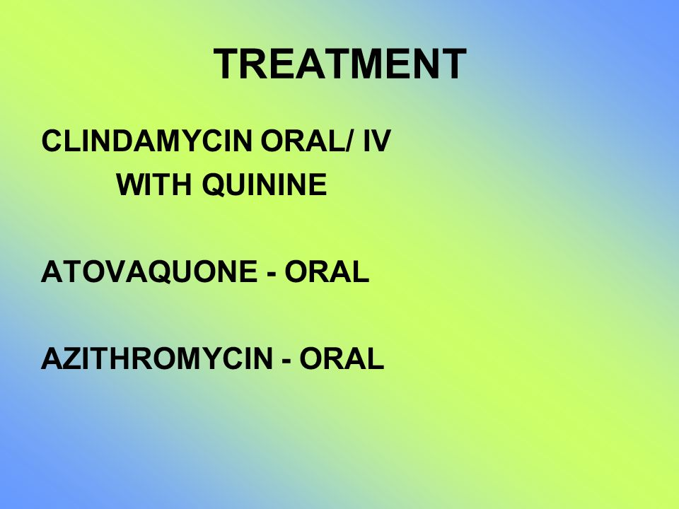 TREATMENT CLINDAMYCIN ORAL/ IV WITH QUININE ATOVAQUONE - ORAL