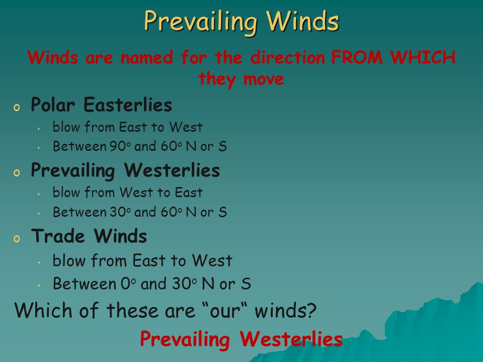 Winds are named for the direction FROM WHICH they move