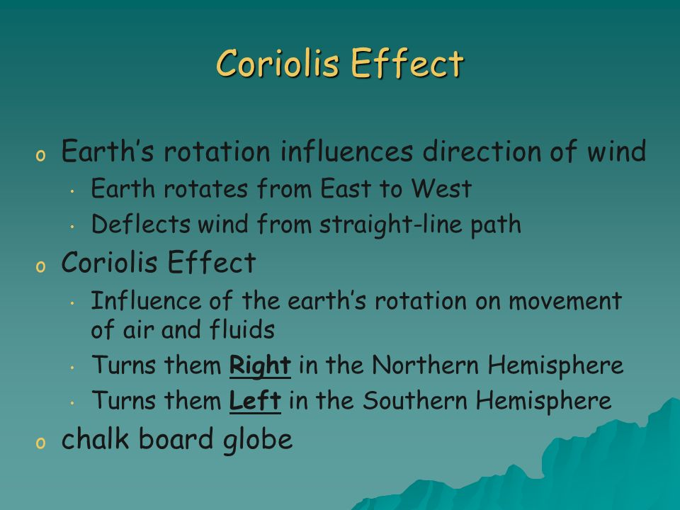 Coriolis Effect Earth's rotation influences direction of wind