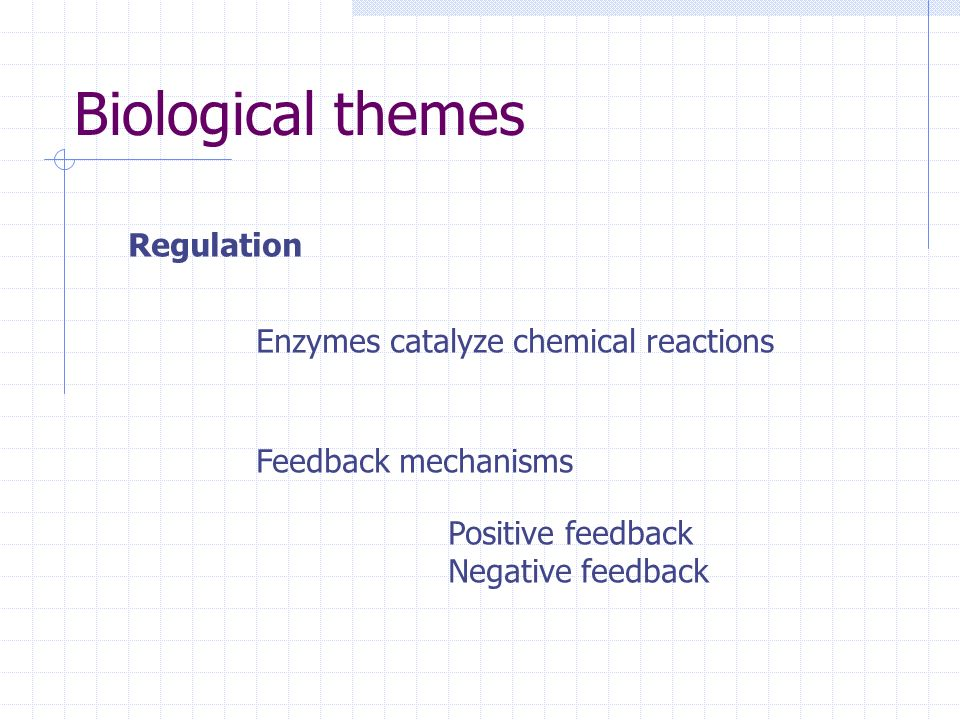 Biological themes Regulation Enzymes catalyze chemical reactions