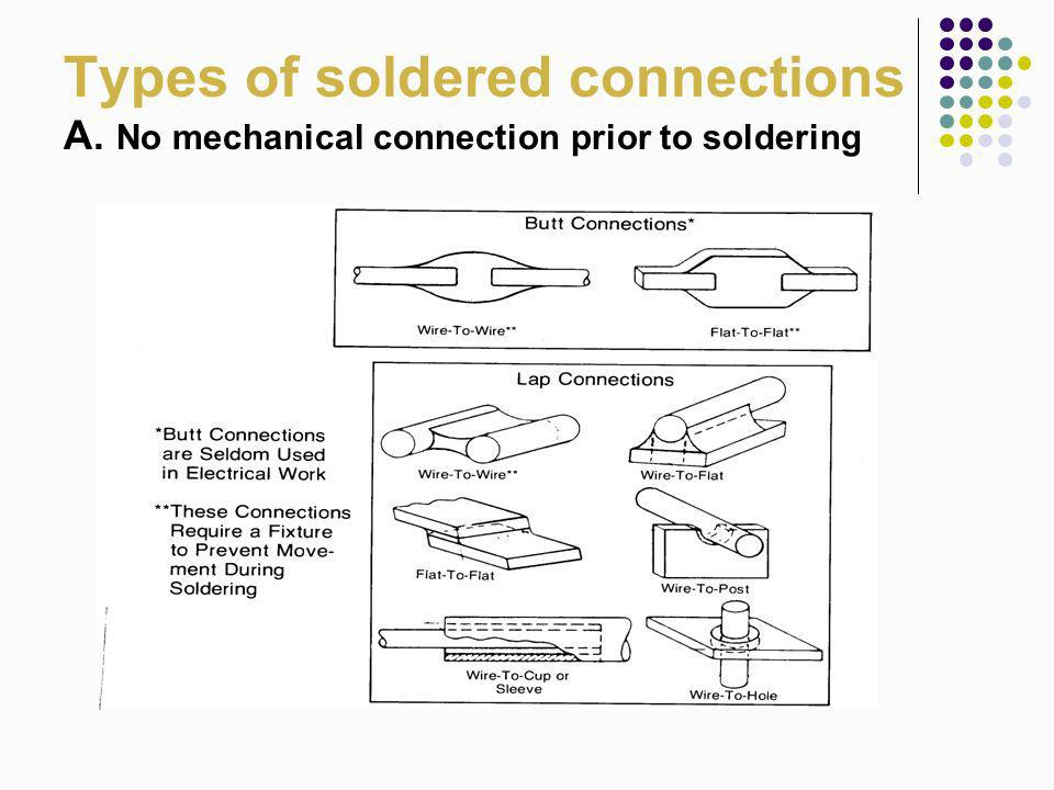 Types of soldered connections A