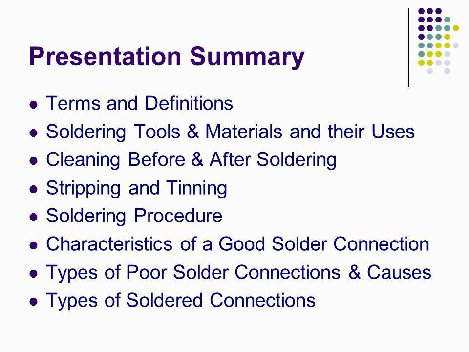 Presentation Summary Terms and Definitions