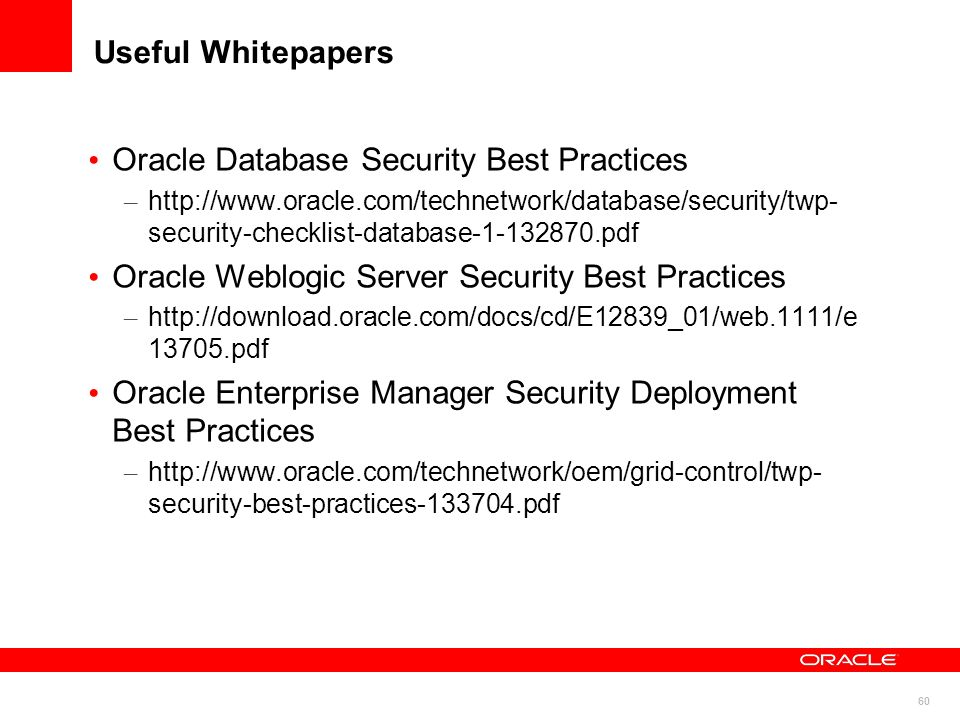 Oracle Database Security Best Practices