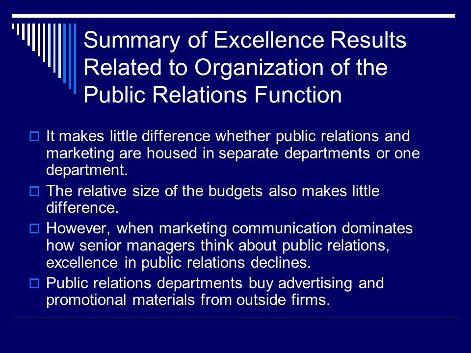Summary of Excellence Results Related to Organization of the Public Relations Function