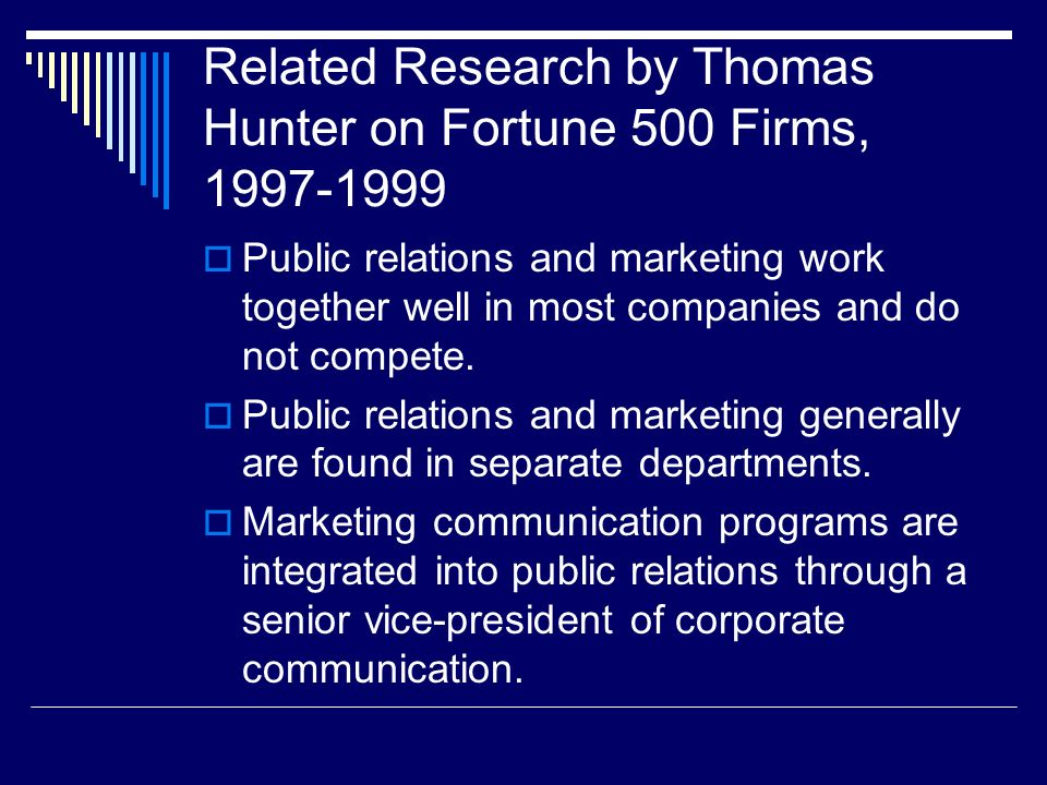 Related Research by Thomas Hunter on Fortune 500 Firms, 1997-1999