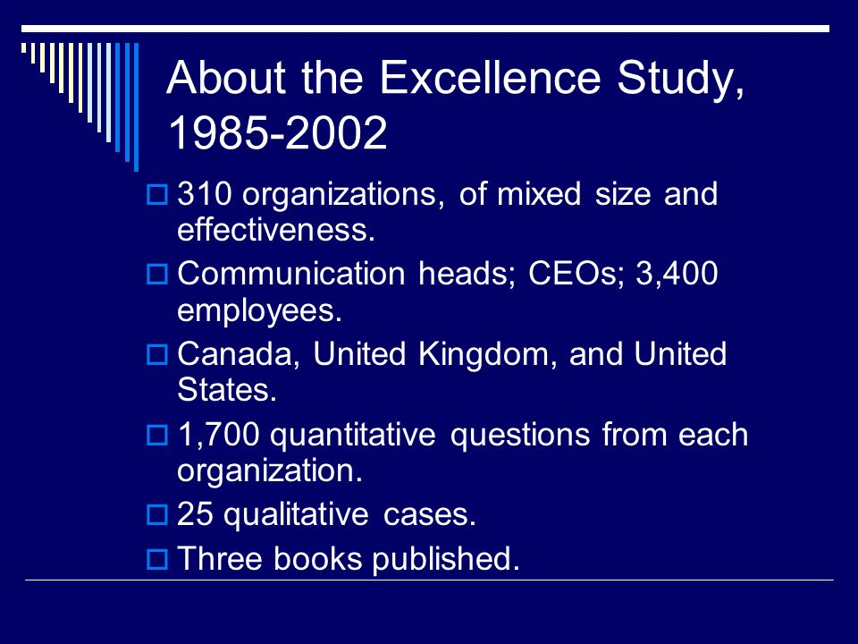 About the Excellence Study, 1985-2002