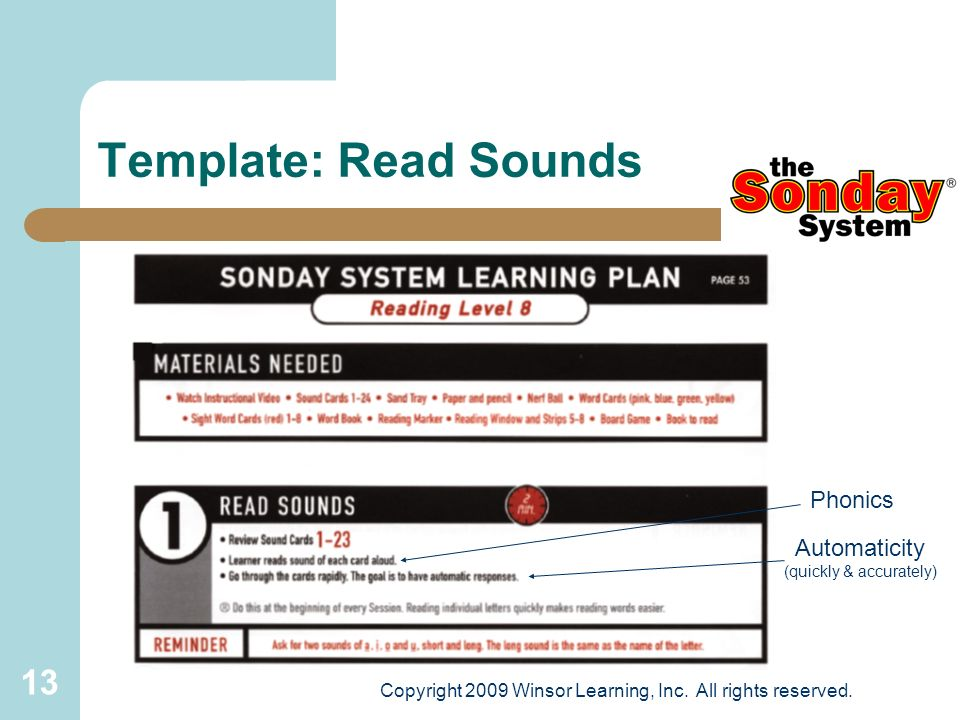 Template: Read Sounds Phonics Automaticity