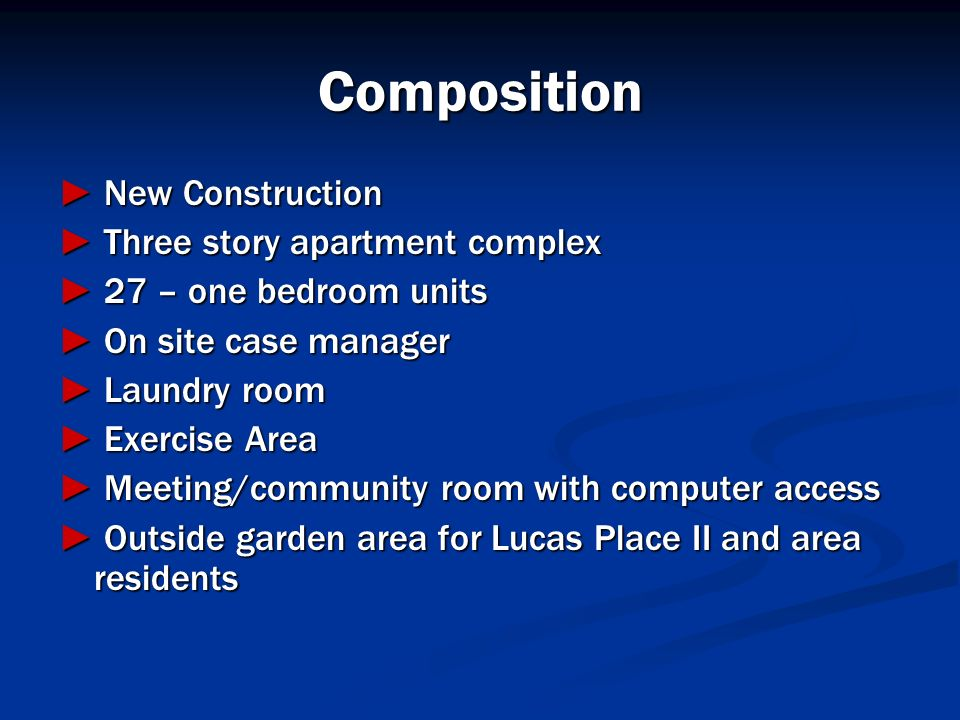 Composition ► New Construction ► Three story apartment complex