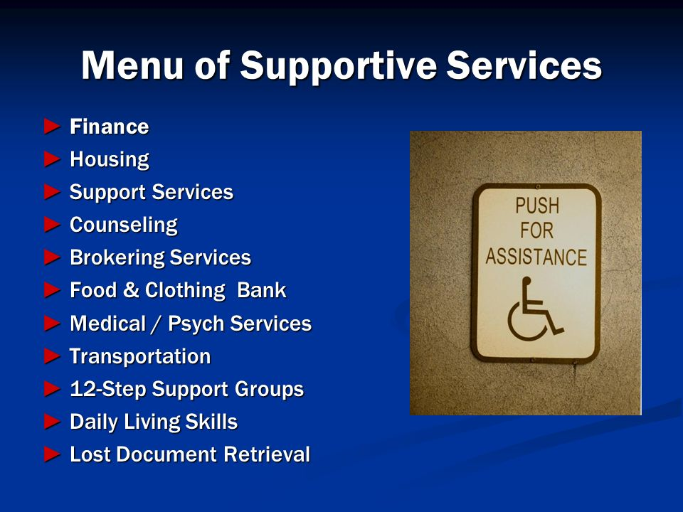 Menu of Supportive Services