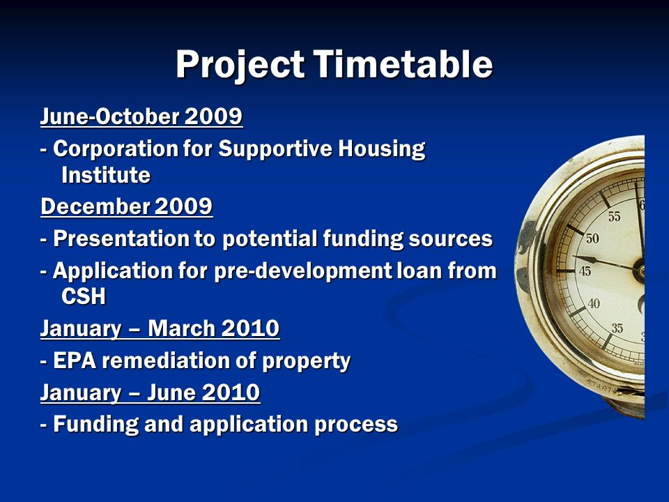 Project Timetable June-October 2009
