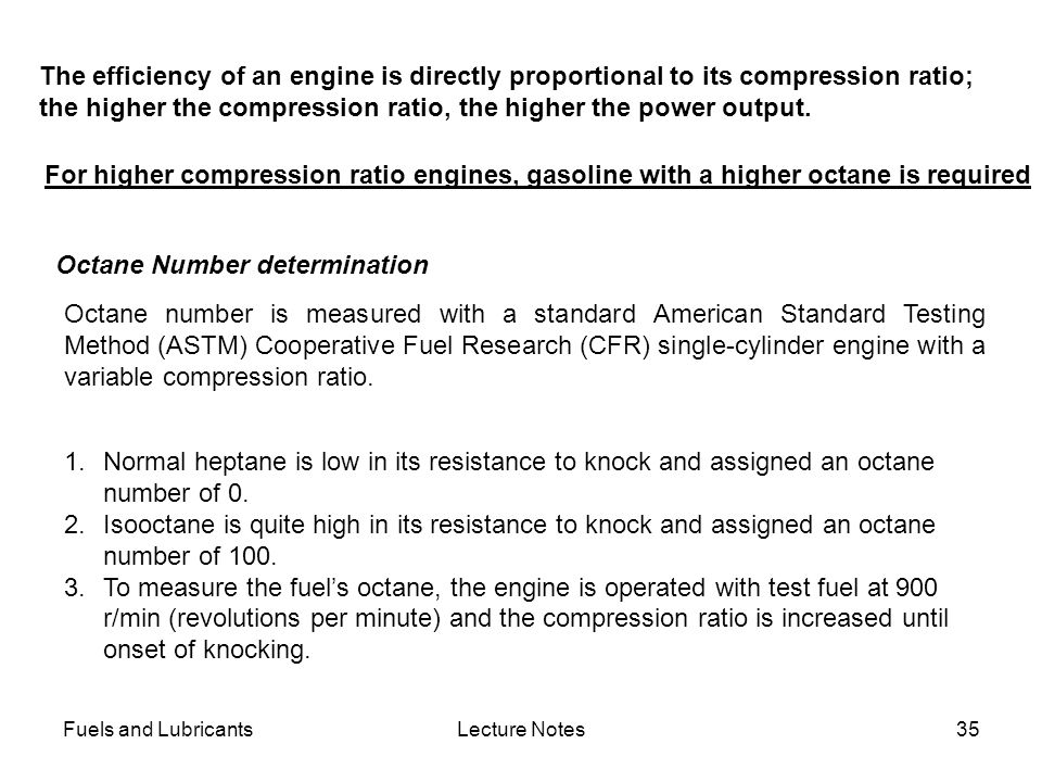 the higher the compression ratio, the higher the power output.