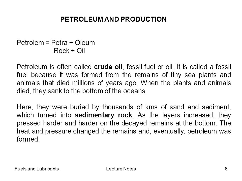 PETROLEUM AND PRODUCTION