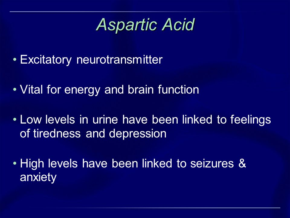 Aspartic Acid Excitatory neurotransmitter